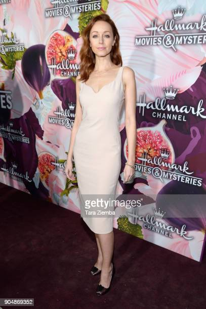 Actress Lindy Booth attends Hallmark Channel And Hallmark Movies and Mysteries Winter 2018 TCA Press Tour at Tournament House on January 13 2018 in...