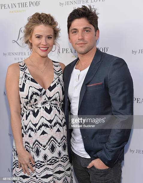 """Actress Linsey Godfrey and acotr Robert Adamson arrives at the Launches of Jennifer Love Hewitt's new maternity line, """"L by Jennifer Love Hewitt"""" at..."""