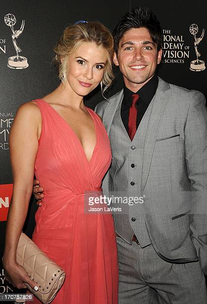 Actress Linsey Godfrey and actor Robert Adamson attend the 40th annual Daytime Emmy Awards at The Beverly Hilton Hotel on June 16, 2013 in Beverly...
