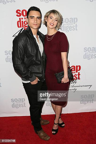 Actress Linsey Godfrey and guest arrive at the 40th Anniversary of the Soap Opera Digest at The Argyle on February 24 2016 in Hollywood California