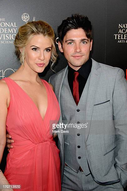 Actress Linsey Godfrey and Robert Adamson attend The 40th Annual Daytime Emmy Awards at The Beverly Hilton Hotel on June 16, 2013 in Beverly Hills,...