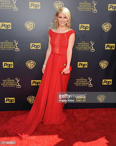 Actress Linsey Godfrey arrives at the 42nd Annual Daytime Emmy Awards at Warner Bros Studios on April 26 2015 in Burbank California