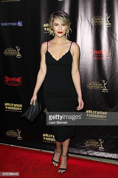 Actress Linsey Godfrey attends the 2016 Daytime Emmy Awards Nominees Reception Arrivals at The Hollywood Museum on April 27 2016 in Hollywood...