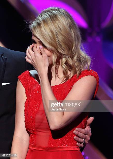 Actress Linsey Godfrey onstage during The 42nd Annual Daytime Emmy Awards at Warner Bros Studios on April 26 2015 in Burbank California