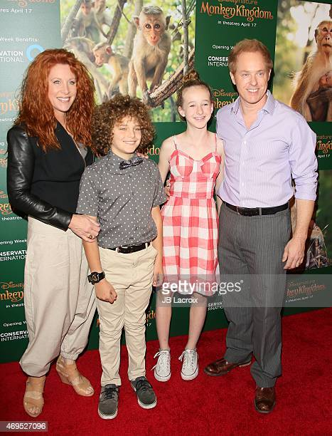 Actress Lisa Akey Django Sbarge Gracie Sbarge and actor Raphael Sbarge attend the world premiere of Disney's 'Monkey Kingdom' at Pacific Theatres at...
