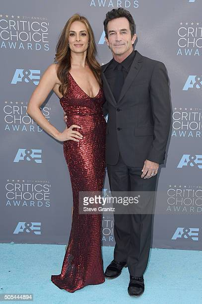 Actress Lisa Ann Russell and TV personality Jeff Probst attend the 21st Annual Critics' Choice Awards at Barker Hangar on January 17, 2016 in Santa...