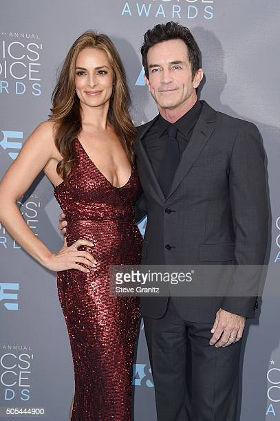 Actress Lisa Ann Russell and TV personality Jeff Probst attend the 21st Annual Critics' Choice Awards at Barker Hangar on January 17 2016 in Santa...