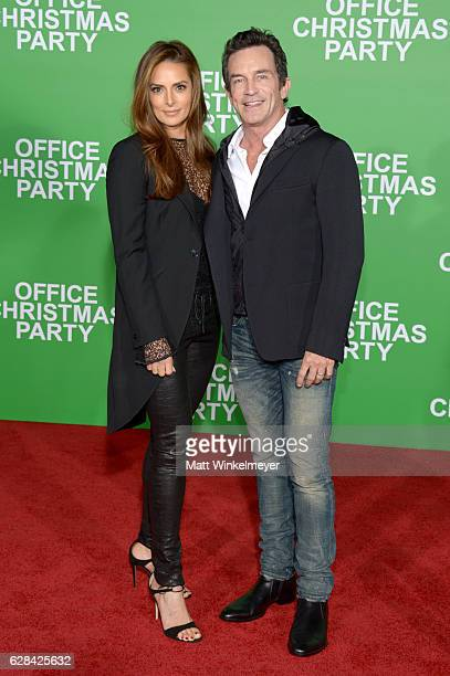 Actress Lisa Ann Russell and TV personality Jeff Probst attend the premiere of Paramount Pictures' Office Christmas Party at Regency Village Theatre...