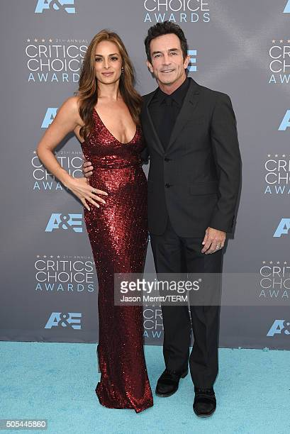 Actress Lisa Ann Russell and TV personality Jeff Probst attends the 21st Annual Critics' Choice Awards at Barker Hangar on January 17 2016 in Santa...
