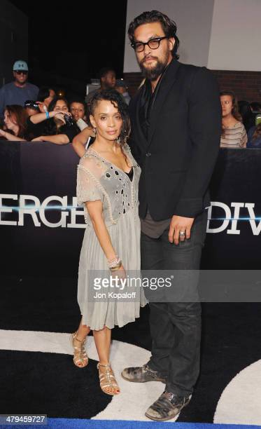 Actress Lisa Bonet and husband actor Jason Momoa arrive at the Los Angeles Premiere 'Divergent' at Regency Bruin Theatre on March 18 2014 in Los...