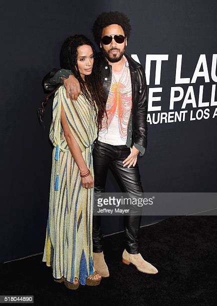 Actress Lisa Bonet and musician Lenny Kravitz attend the Saint Laurent show at The Hollywood Palladium on February 10 2016 in Los Angeles California