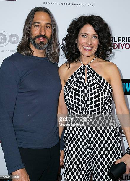 Actress Lisa Edelstein and husband Robert Russell attend Bravo's Los Angeles premiere of 'Girlfriends Guide To Divorce' at Ace Hotel on November 18...