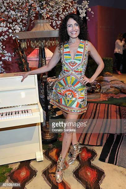 Actress Lisa Edelstein attends the alice olivia by Stacey Bendet Los Angeles Runway Show at NeueHouse Los Angeles on April 13 2016 in Hollywood...
