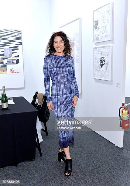 Actress Lisa Edelstein attends the Art Los Angeles Contemporary 2016 Opening Night at Barker Hangar on January 28 2016 in Santa Monica California