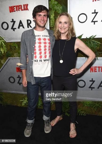 """Actress Lisa Emery with son Zane Pais attends the """"Ozark"""" New York screening at The Metrograph on July 20, 2017 in New York City."""