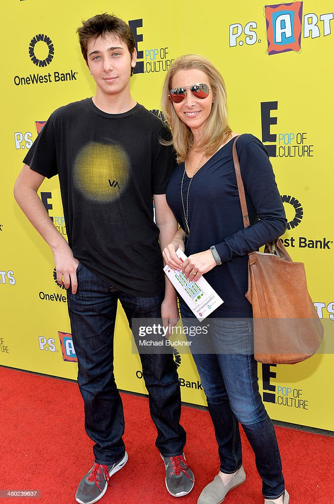 Actress Lisa Kudrow (R) and son Julian Murray Stern attend the P.S. Arts Express Yourself 2013 event held at Barker Hangar on November 17, 2013 in Santa Monica, California.