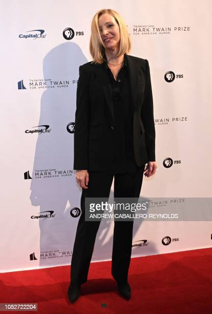 Actress Lisa Kudrow poses on the red carpet for the 21st Annual Mark Twain Prize for American Humor at the Kennedy Center in Washington DC on October...