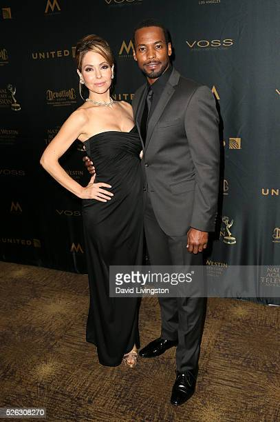 Actress Lisa LoCicero and actor Anthony Montgomery pose in the press room at the 43rd Annual Daytime Creative Arts Emmy Awards at Westin Bonaventure...