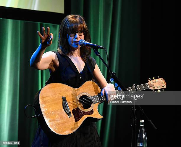Actress Lisa Loeb on stage at The Independent School Alliance For Minority Affairs Impact Awards Dinner at Four Seasons Hotel Wilshire at Beverly...