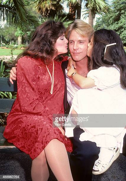 Actress Lisa Loring husband actor Doug Stevenson and her daughter Vanessa Foumberg on August 30 1983 exclusive photo session at Beverly Park in Los...