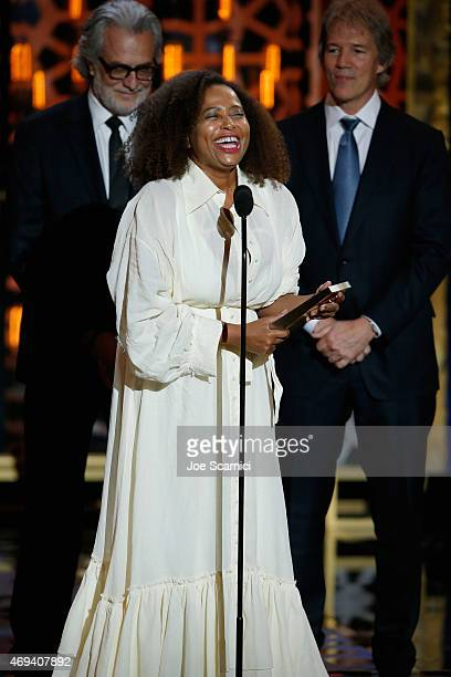 "Actress Lisa Nicole Carson accepts the Groundbreaking Award onstage for ""Ally McBeal"" during the 2015 TV Land Awards at Saban Theatre on April 11..."