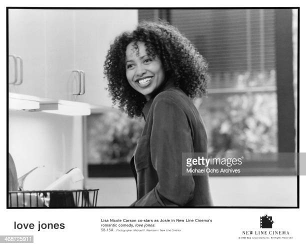 Actress Lisa Nicole Carson on set of the New Line Cinema movie ' Love Jones' circa 1997