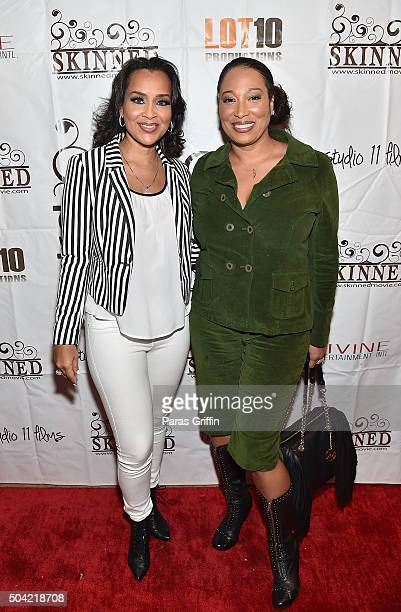 Actress Lisa Raye McCoy and actress Chrystale Wilson attend Skinned Atlanta screening at Prince Place Cigar Bar and Bistro on January 9 2016 in...
