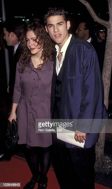 Actress Lisa Rieffel and actor Johnny Whitworth attend the premiere of Freejack on January 16 1992 at Mann Chinese Theater in Hollywood California
