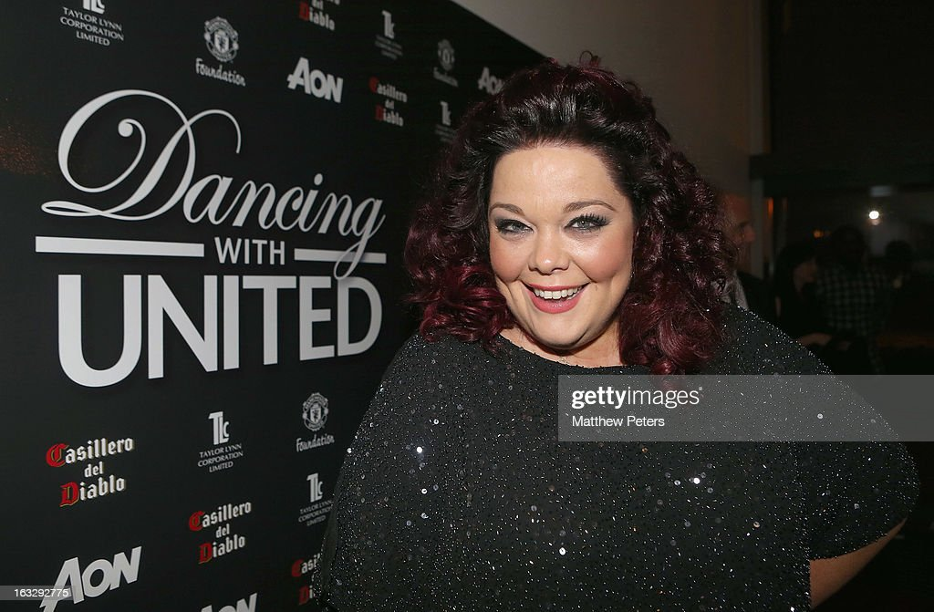 Actress Lisa Riley arrives at Dancing for United, a ballroom dancing event in aid of the Manchester United Foundation, at Old Trafford on March 7, 2013 in Manchester, England.