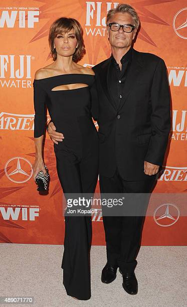 Actress Lisa Rinna and actor Harry Hamlin arrives at the Variety And Women In Film Annual Pre-Emmy Celebration at Gracias Madre on September 18, 2015...