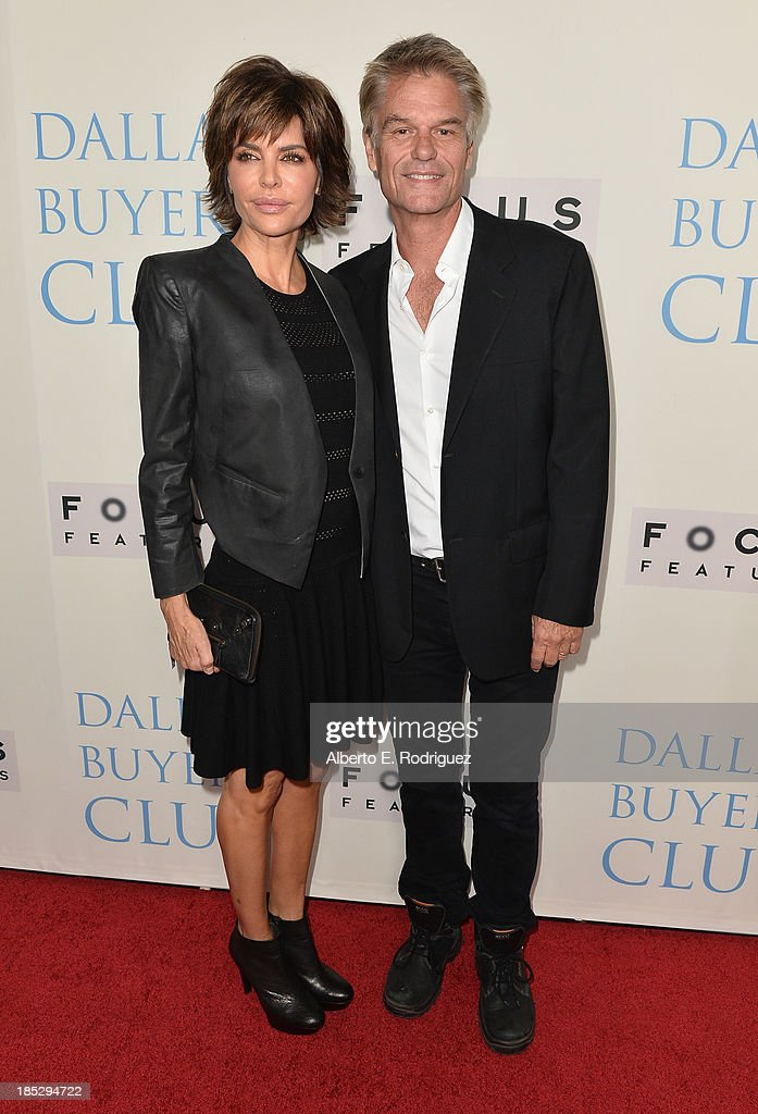 Actress Lisa Rinna and actor Harry Hamlin attend Focus Features' 'Dallas Buyers Club' premiere at the Academy of Motion Picture Arts and Sciences on October 17, 2013 in Beverly Hills, California.