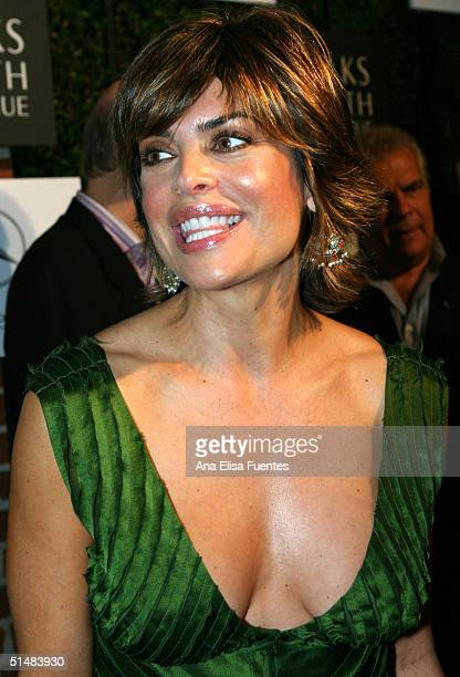Actress Lisa Rinna during the arrival at the the Saks Fifth Avenue A Key To The Cure benefit event at a private residence on October 14 2004 in...