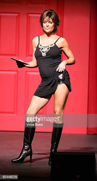 Actress Lisa Rinna performs at the 2005 Worldwide VDay Campaign presentation of The Vagina Monologues at the Wilshire Ebell Theatre on March 17 2005...