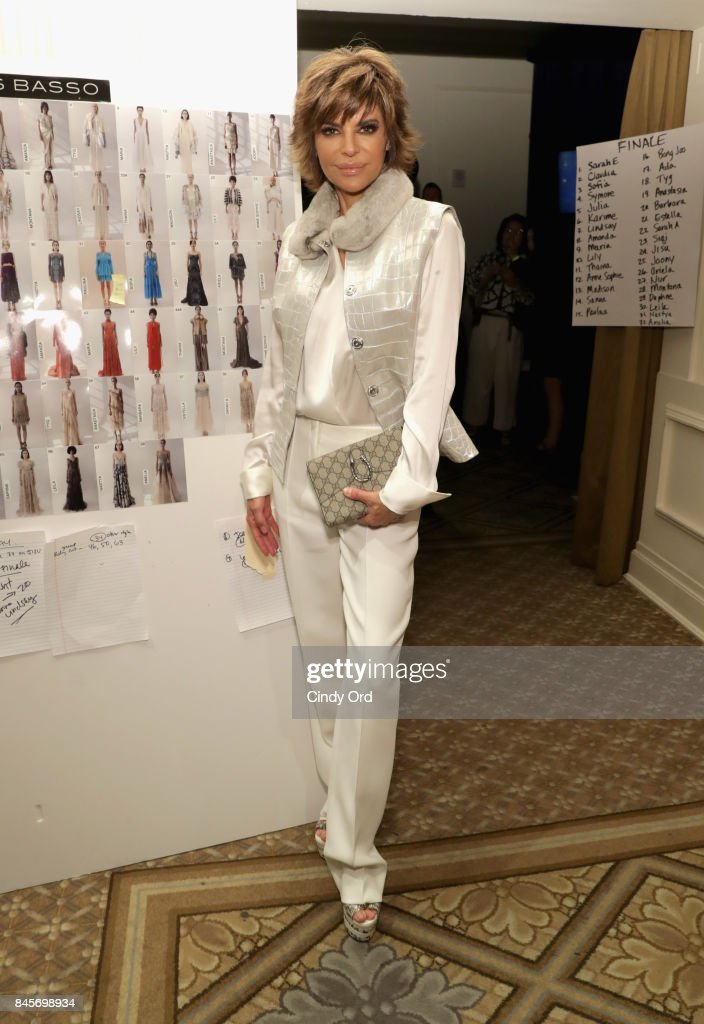 Actress Lisa Rinna poses backstage for Dennis Basso fashion show during New York Fashion Week: The Shows at The Plaza Hotel on September 11, 2017 in New York City.