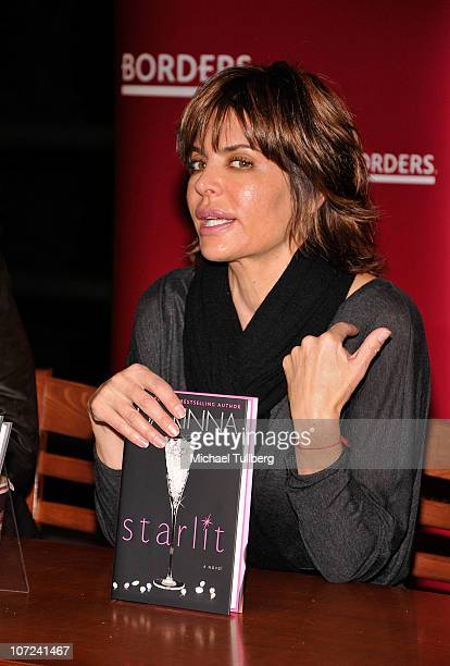 Actress Lisa Rinna speaks at a signing event for her and husband Harry Hamlin's new books Starlit and Full Frontal Nudity on December 1 2010 in...