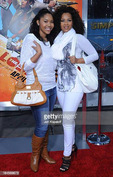 Actress LisaRaye McCoy and daughter Kai arrive to the Los Angeles Premiere The Losers at Grauman's Chinese Theatre on April 20 2010 in Hollywood...