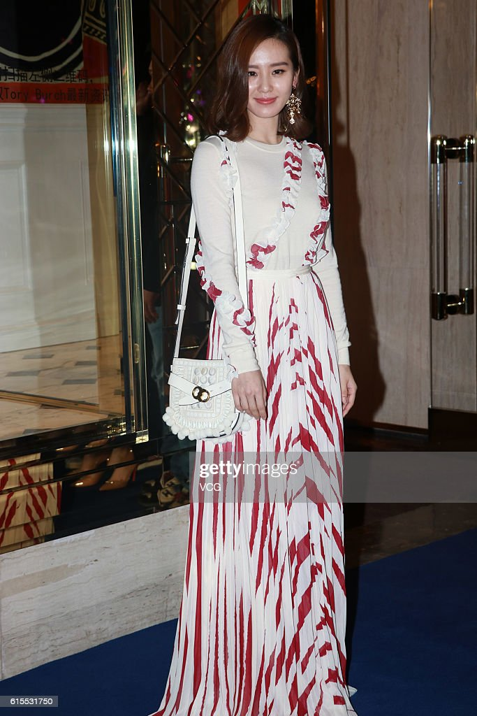 Actress Liu Shishi attends a commercial activity of Tory Burch on October 18, 2016 in Shanghai, China.
