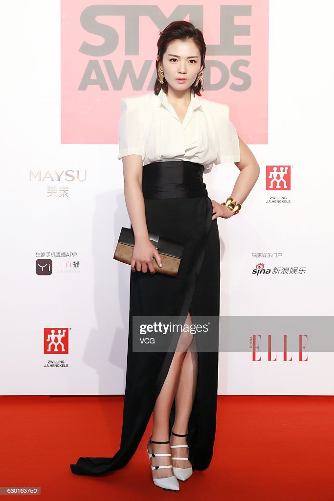 Actress Liu Tao poses at the red carpet of 2016 ELLE Style Awards ceremony on December 16, 2016 in Shanghai, China.