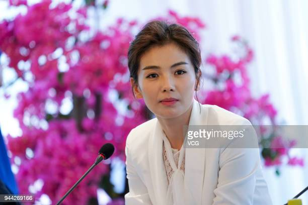 Actress Liu Tao speaks during a session at the Boao Forum for Asia Annual Conference 2018 on April 10 2018 in Boao China The Boao Forum for Asia...