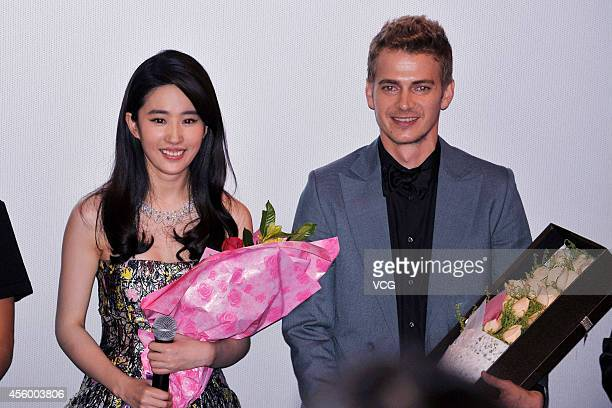 Actress Liu Yifei and actor Hayden Christensen attend Nick Powell's new movie Out Cast press conference on September 23 2014 in Guangzhou China