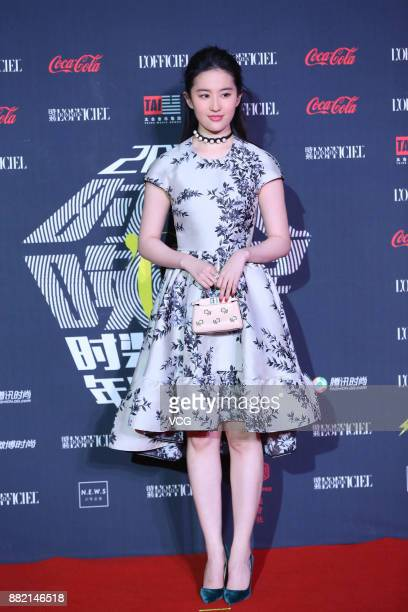 Actress Liu Yifei arrives at the red carpet of L'Officiel Fashion Night 2017 on November 29 2017 in Beijing China