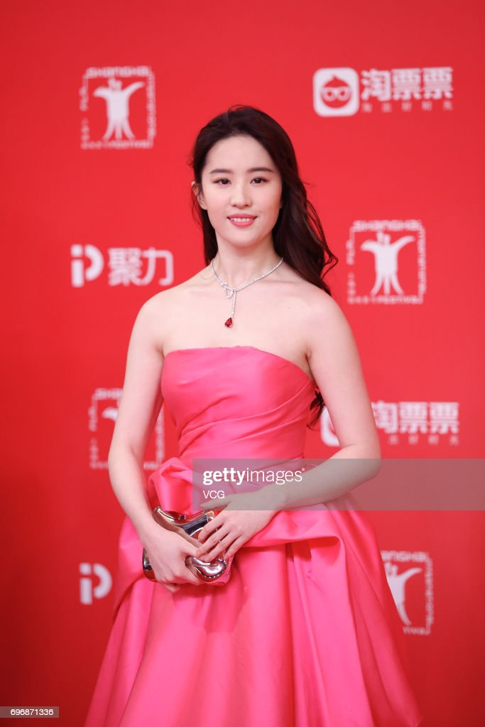 Actress Liu Yifei arrives at the red carpet of the 20th Shanghai International Film Festival on June 17, 2017 in Shanghai, China.