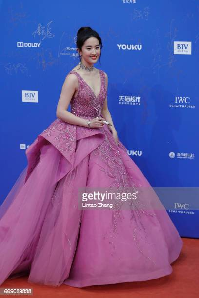 Actress Liu Yifei arrives at the red carpet of the 7th Beijing International Film Festival on April 16 2017 in Beijing China