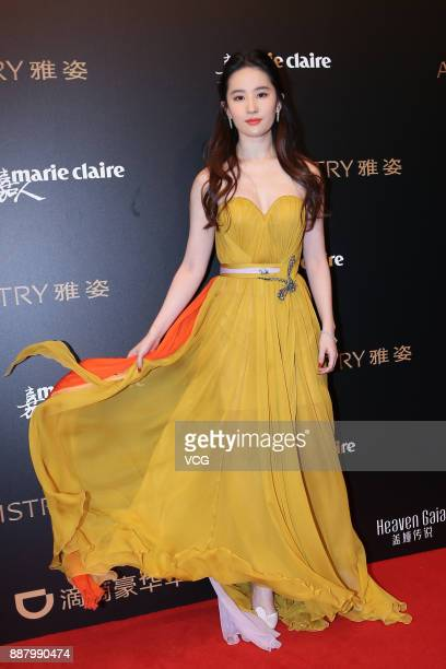Actress Liu Yifei arrives on the red carpet of 2017 Marie Claire Style China Artistry Party on December 7 2017 in Beijing China