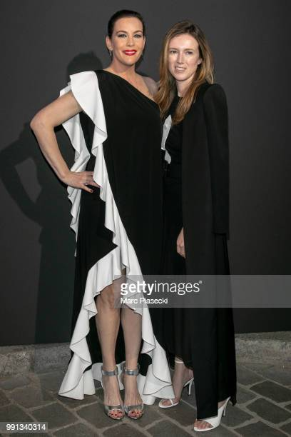 Actress Liv Tyler and Clare Waight Keller attend the Vogue Foundation Dinner Photocall as part of Paris Fashion Week Haute Couture Fall/Winter...
