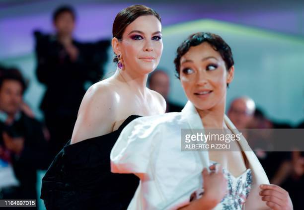 TOPSHOT US actress Liv Tyler and EthiopianIrish actress Ruth Negga arrive on August 29 2019 for the screening of the film Ad Astra during the 76th...