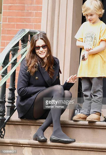 Actress Liv Tyler and son Milo Langdon are seen putting up halloween decorations at her west village townhouse on October 24 2010 in New York City
