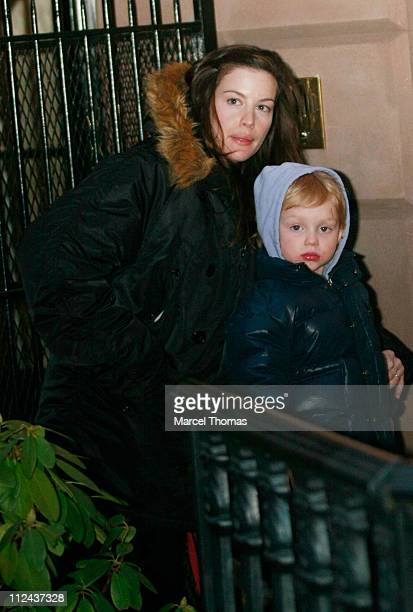 Actress Liv Tyler and son Milo Langston sighting in the West Village on March 16 2008 in New York City