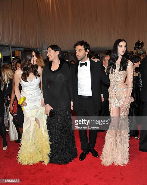 "Actress Liv Tyler, artist Marina Abramovic, designer Riccardo Tischi and model Mariacarla Boscono attend the ""Alexander McQueen: Savage Beauty""..."