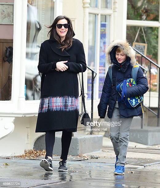 Actress Liv Tyler is seen walking with her son Milo Langdon in Soho on December 2 2014 in New York City